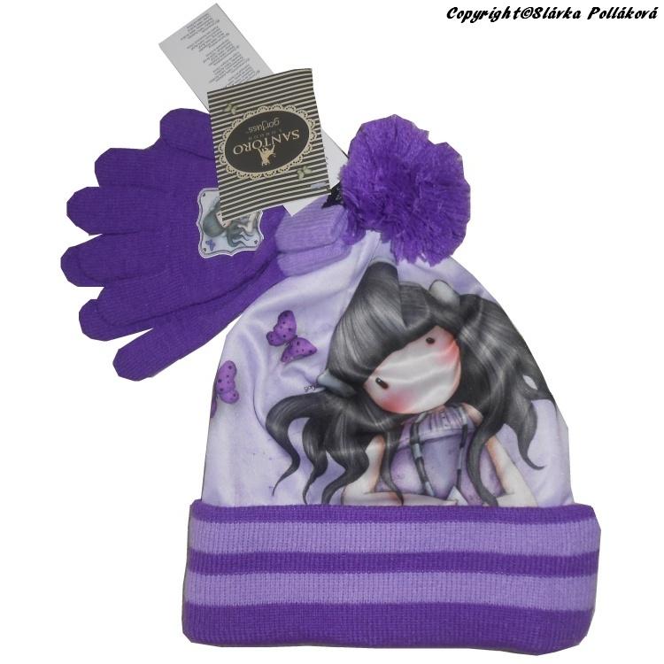 Dětská dívčí zimní čepice + rukavice Setino 780-685 Santoro London Gorjuss fialová