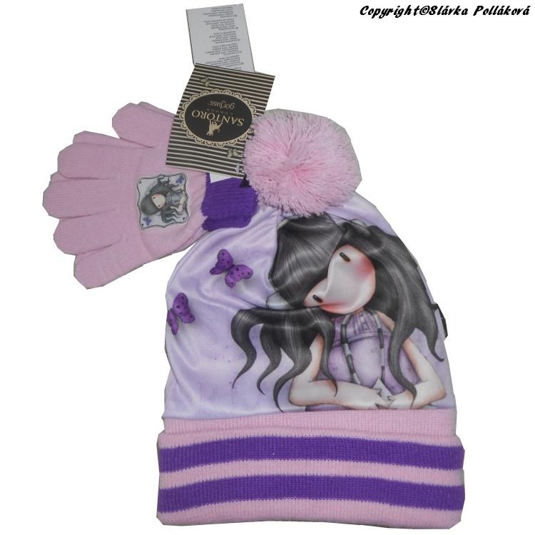 Dětská dívčí zimní čepice + rukavice Setino 780-685 Santoro London Gorjuss růžová