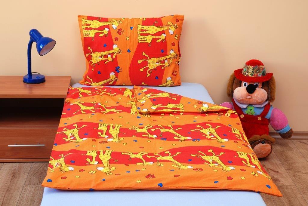 Dětské povlečení Brotex Žirafa oranžová bavlna 45x60 + 90x135 cm