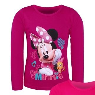 Dětské dívčí tričko dlouhý rukáv Setino Minnie tm. růžová