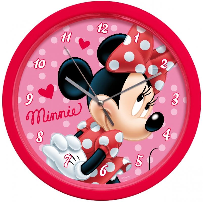 Sun City Dětské nástěnné hodiny Minnie srdíčka 25 cm