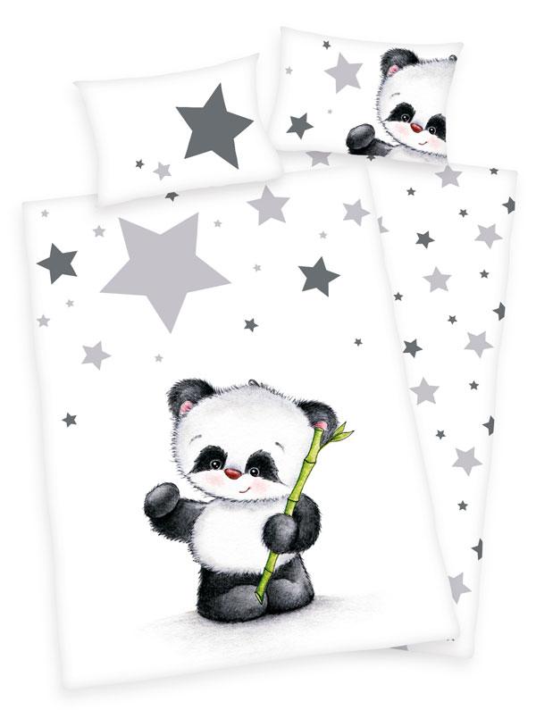 Herding FLANEL Povlečení do postýlky Panda 100x135 + 40x60 cm