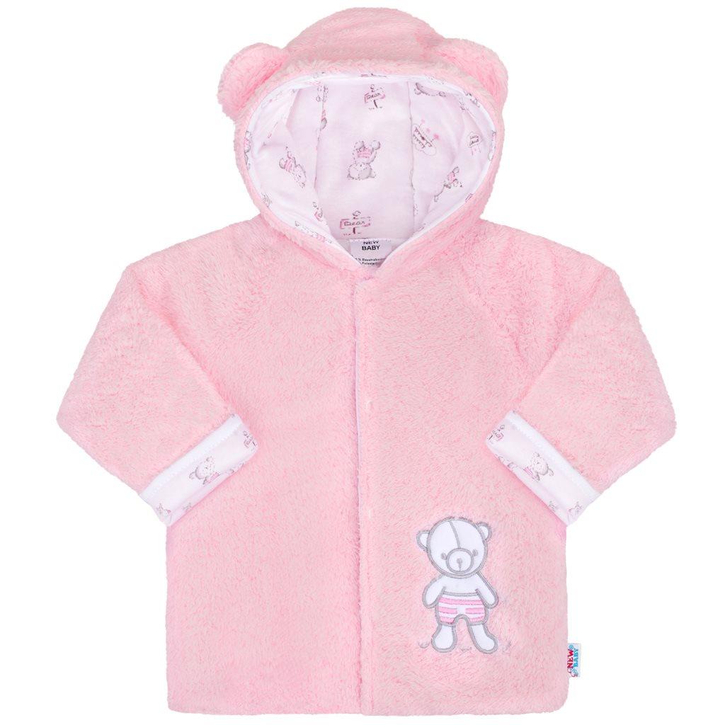 Zimní kojenecký kabátek New Baby Nice Bear růžový