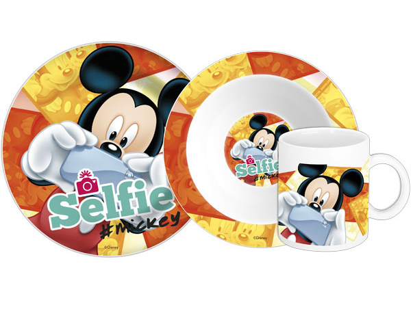 Euroswan Keramická sada nádobí Mickey Selfie 3 ks