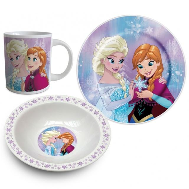 Euroswan Keramická sada nádobí Ledové Království Anna a Elsa fialová