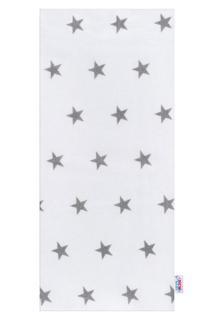 Flanelová plena s potiskem New Baby bílá hvězdičky šedé