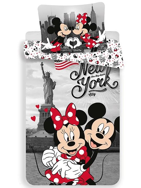 Jerry Fabrics Dětské povlečení Mickey a Minnie v New Yorku Love bavlna 140x200 + 70x90 cm