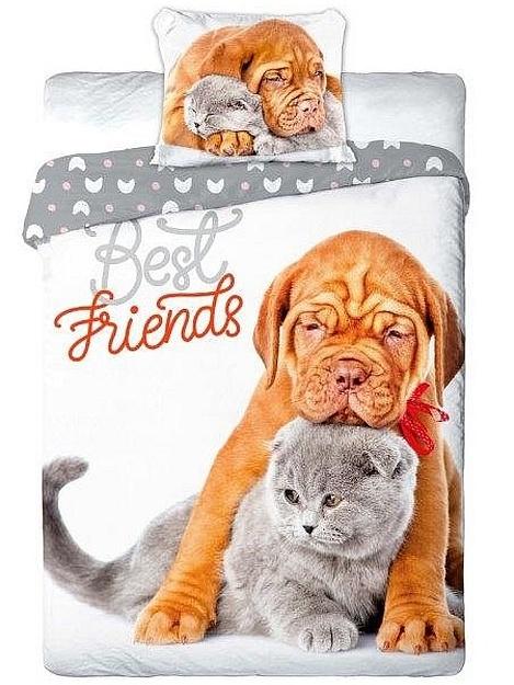 Faro Povlečení Best Friends šedé bavlna 140x200 + 70x90 cm