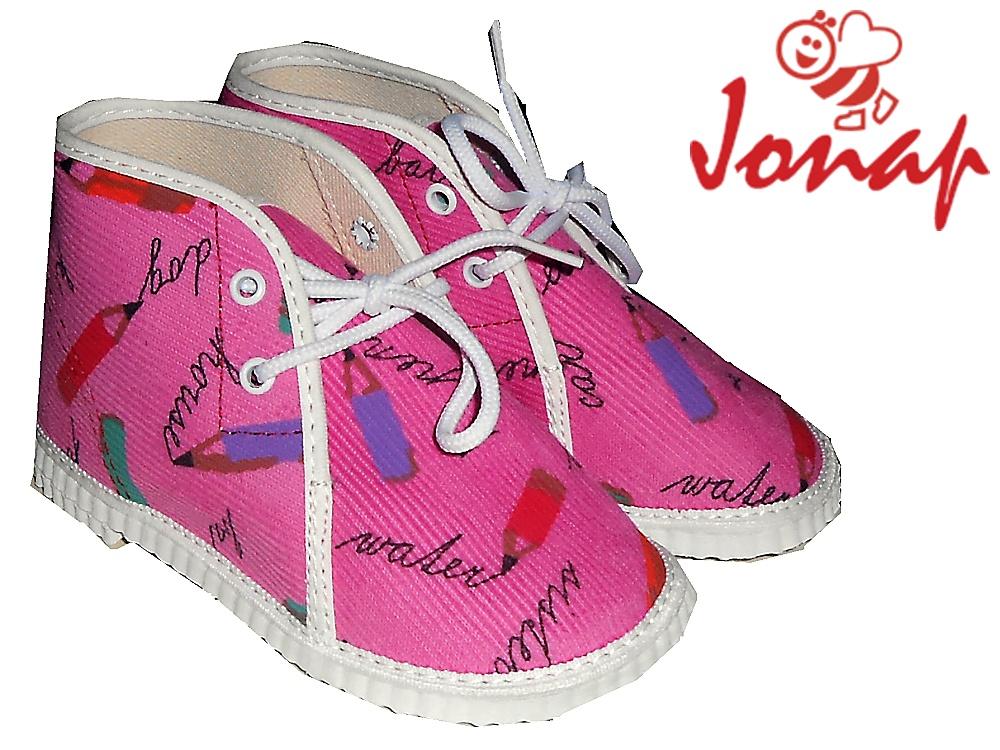 Dětské kotníkové šněrovací bačkory Jonap 004 růžové pastelky, vel. 21