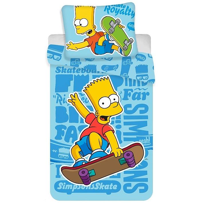 Jerry Fabrics Dětské povlečení Bart Simpson Blue 02 bavlna 140x200 + 70x90 cm