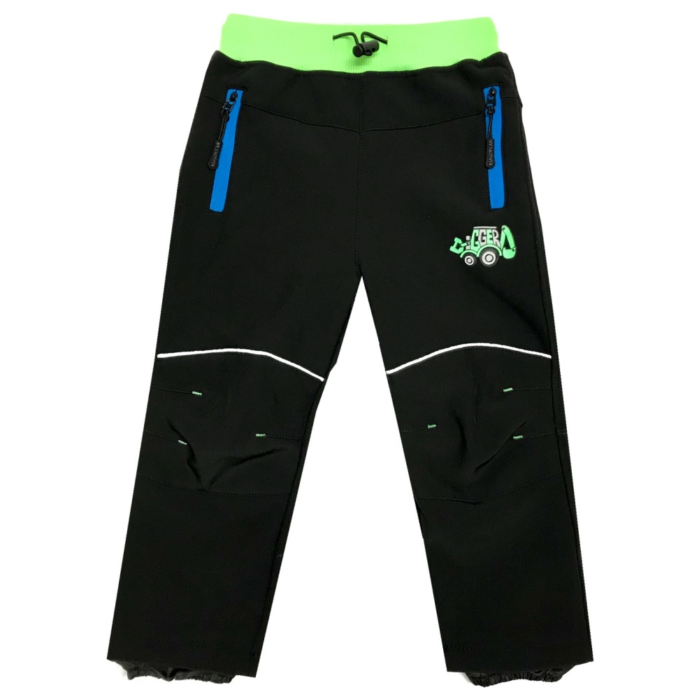 Dětské softshellové kalhoty s fleecem Kugo B210 černá + zelený pas