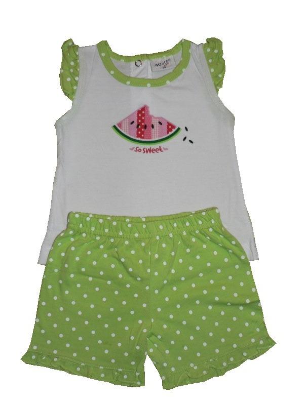 Kojenecké dívčí tričko + kraťasy Wolf S2022 Zelené, vel. 86