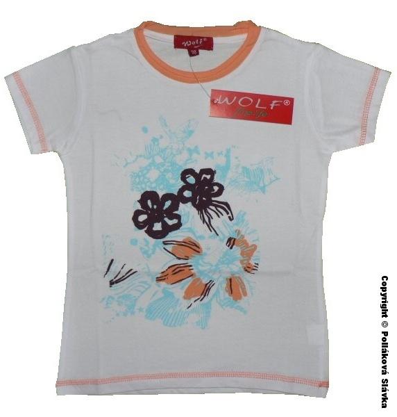 Dětské dívčí tričko krátký rukáv Wolf S2015 Bílé vel. 98