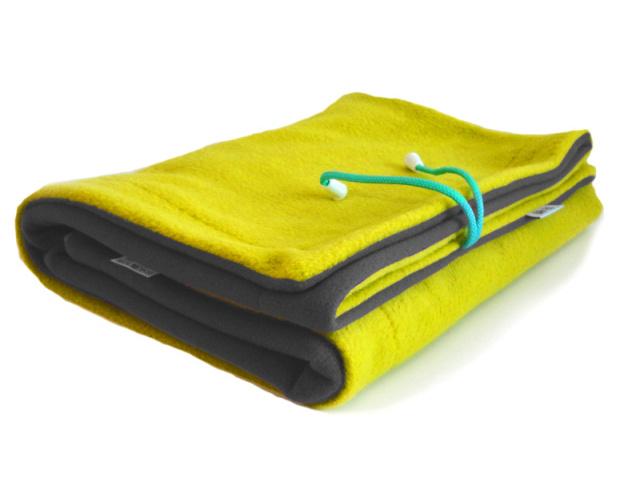 Gadeo Fleecová oboustranná deka do kočárku Chameleon - Antracit/žlutá