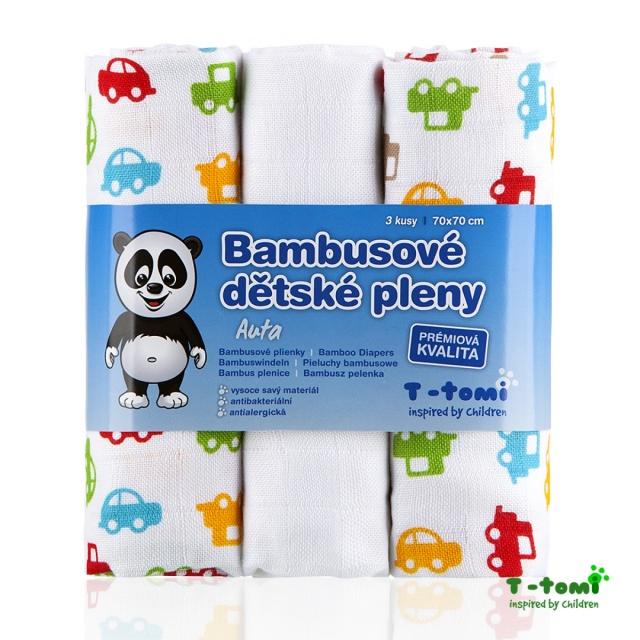 T-tomi Bambusové pleny 3 ks, auta