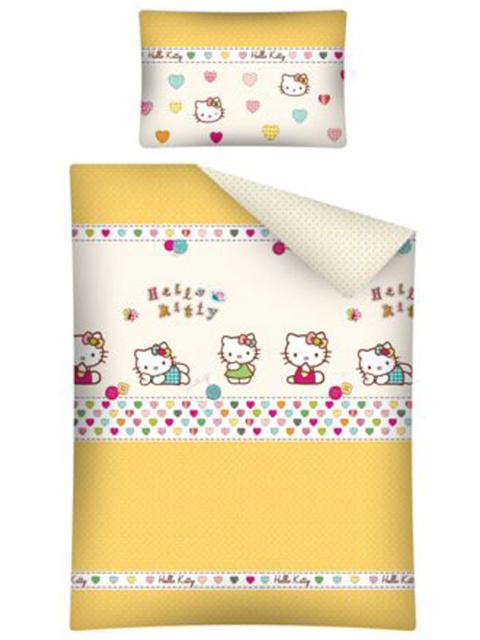 Detexpol Povlečení do postýlky Hello Kitty žlutá bavlna 135x100, 40x60 cm