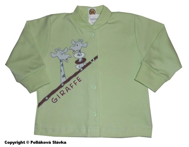 Kojenecký kabátek Malewo Žirafky Zelený, vel. 74