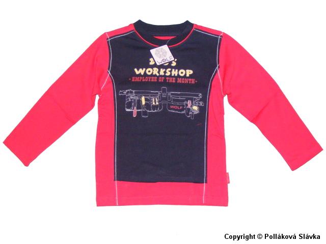Dětské chlapecké triko dlouhý rukáv Wolf S2232 červené, vel. 128