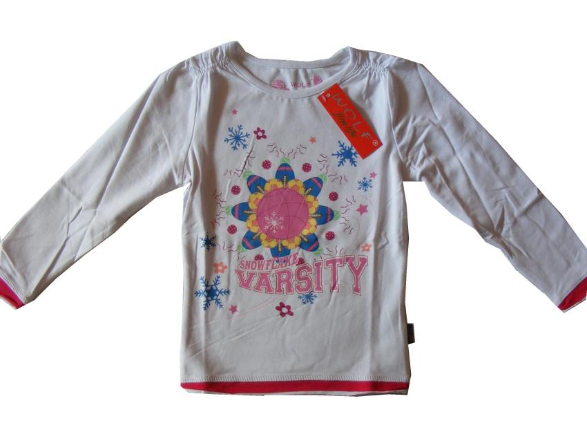 Dětské dívčí triko dlouhý rukáv Wolf S2037 bílé, vel. 128