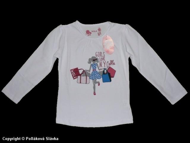 Dětské dívčí triko dlouhý rukáv Wolf S2142b bílé, vel. 116