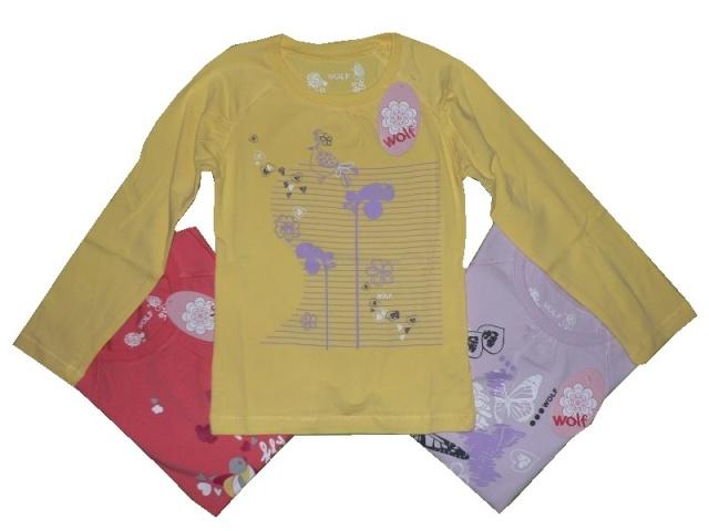 Dětské dívčí triko dlouhý rukáv Wolf S2036B žluté, vel. 116