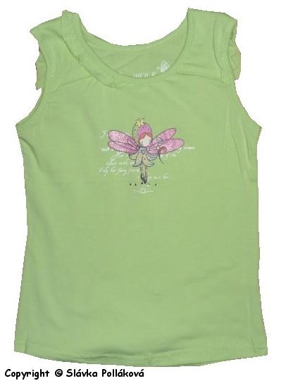 Dětské dívčí tílko, tričko bez rukávů Wolf S2423 zelené, vel. 116