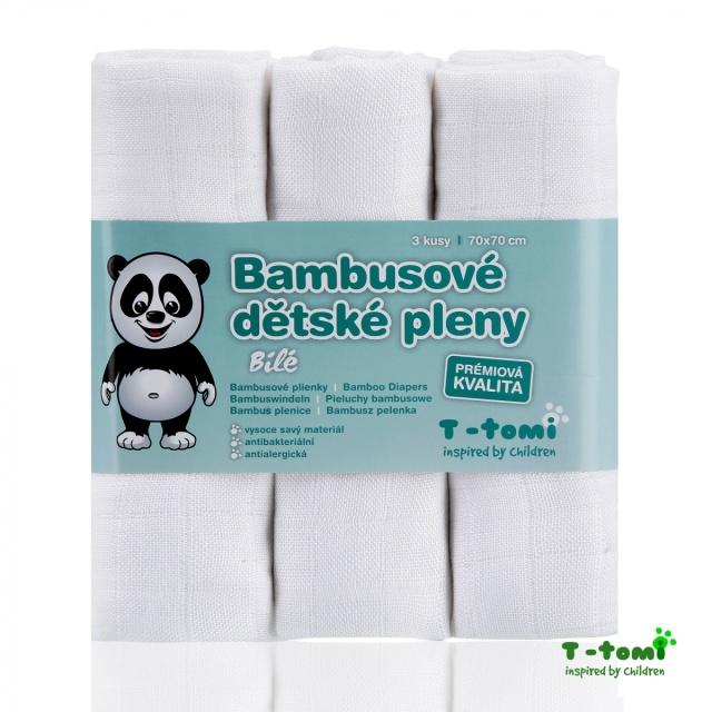 T-tomi Bambusové pleny 70x70 cm 3 ks, bílé