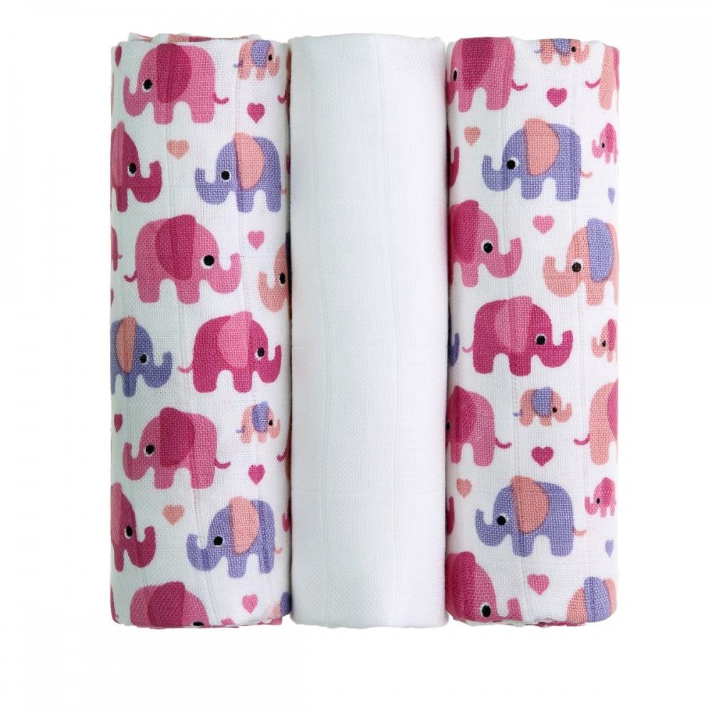 T-tomi Bambusové pleny 3 ks, růžoví sloni