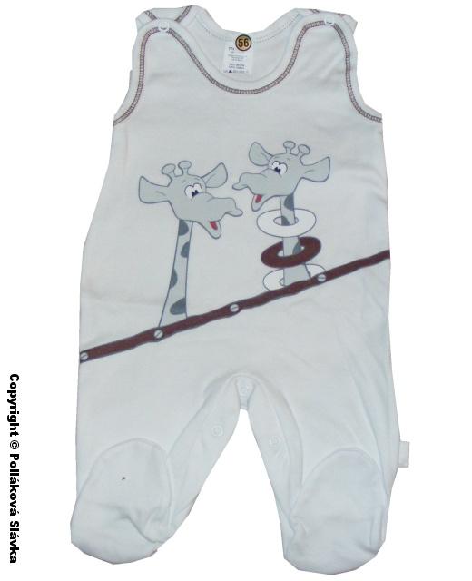 Kojenecké dupačky Malewo Žirafky bílé, vel. 56
