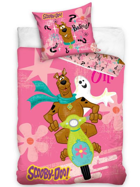 Carbotex Dětské povlečení Scooby Doo růžová bavlna 140x200 + 70x90 cm
