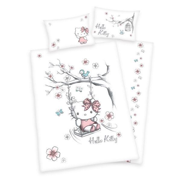 Herding Povlečení do postýlky Hello Kitty flanel 100x135 + 40x60 cm