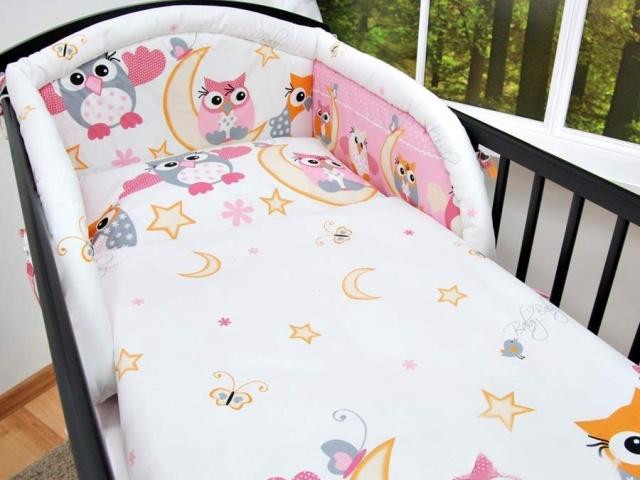 Baby-Tex Povlečení do postýlky Sovy a hvězdičky růžové 90x120 cm
