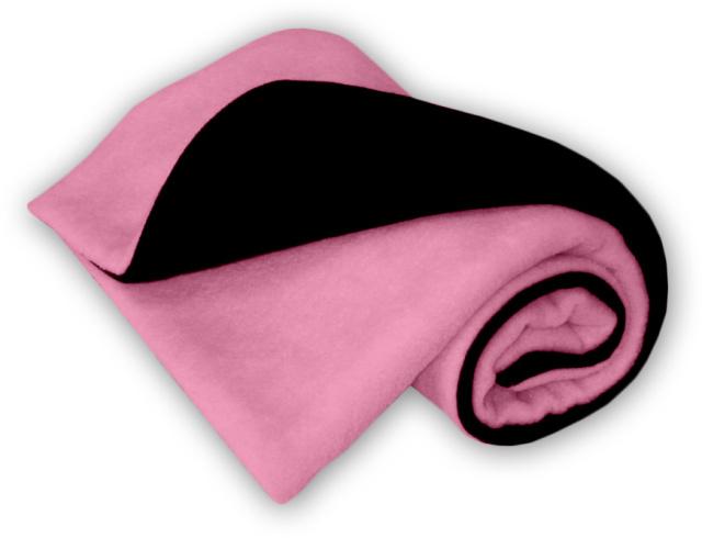 IvemaBaby Deka do kočárku fleecová oboustranná černá/světle růžová