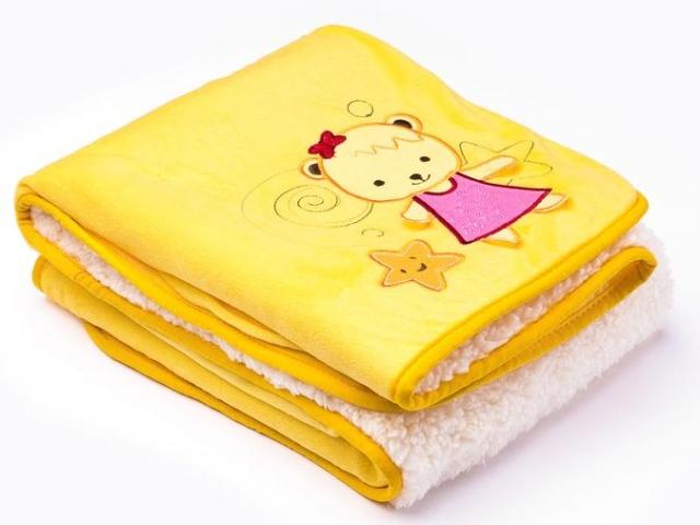 Sensillo Dětská deka do kočárku 75x100 cm 3D Sladký medvídek yellow
