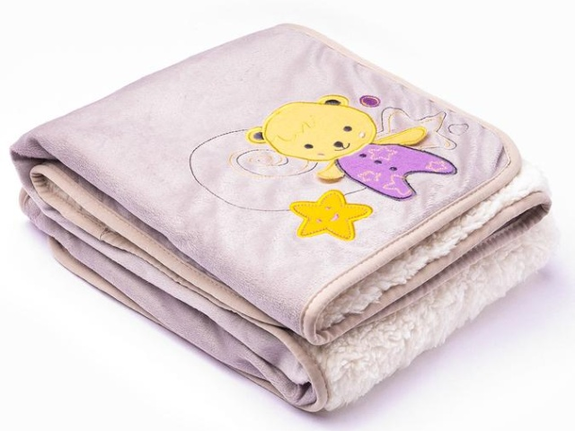 Sensillo Dětská deka do kočárku 75x100 cm 3D Sladký medvídek grey