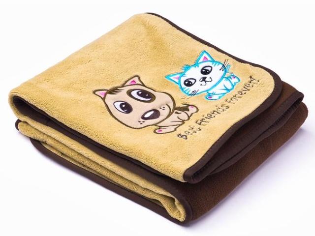 Sensillo Dětská deka do kočárku 75x100 cm Pejsek a kočička brown
