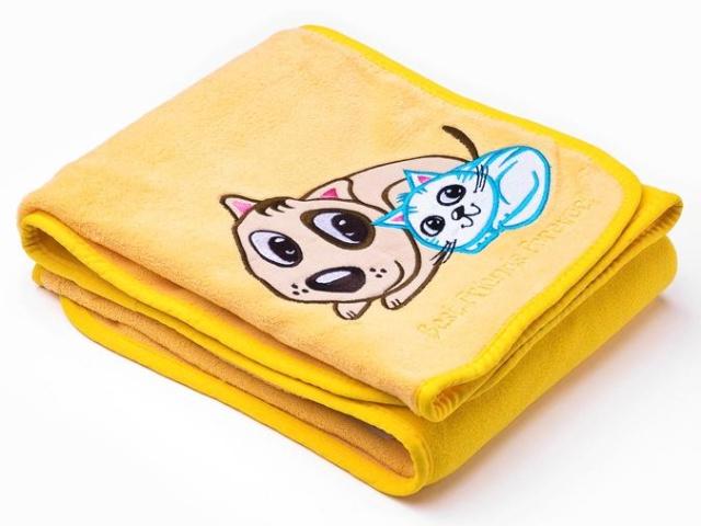 Sensillo Dětská deka do kočárku 75x100 cm Pejsek a kočička yellow