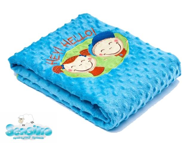 Sensillo Dětská deka do kočárku 75x100 cm Hey Hello blue