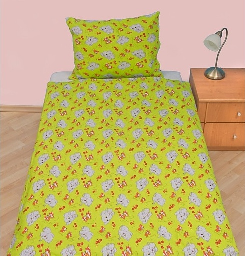 Brotex Písek Povlečení dětské bavlna velká postel Slůně zelené 140x200 cm, nitěný knoflík