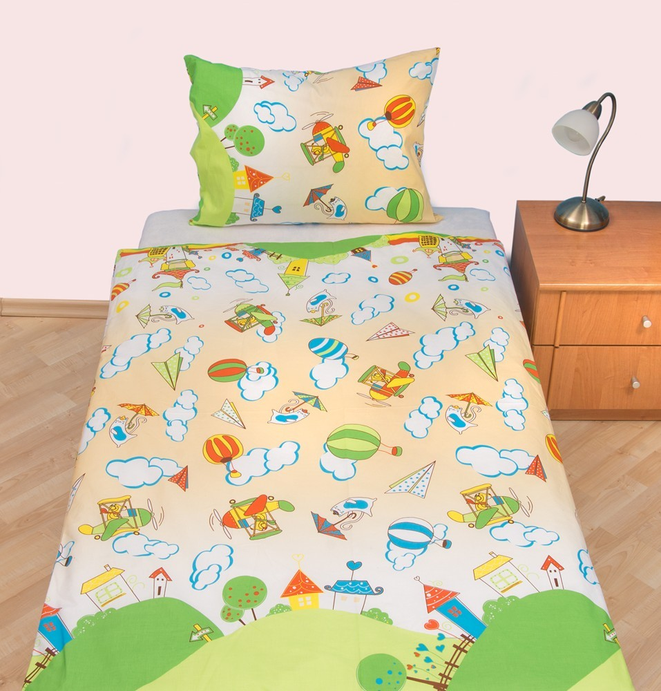 Brotex Písek Povlečení dětské bavlna velká postel Letadýlko béžové 140x200 cm, nitěný knoflík