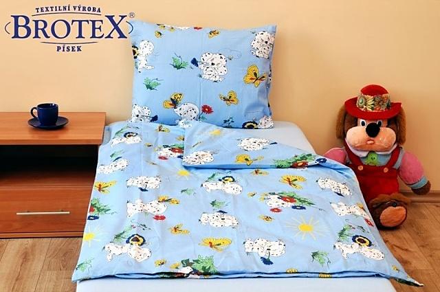 Brotex Písek Povlečení dětské bavlna velká postel Dalmatin modrý 140x200 cm, nitěný knoflík