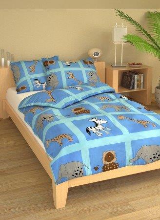 Brotex Písek Povlečení dětské bavlna velká postel Safari modré 140x200 cm, nitěný knoflík