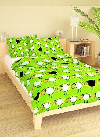 Brotex Písek Povlečení dětské krep velká postel Ovečky zelené 140x200 cm, nitěný knoflík