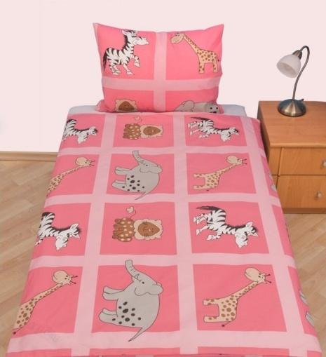 Brotex Písek Povlečení dětské bavlna velká postel Safari růžové 140x200 cm, zipový uzávěr