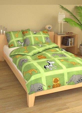 Brotex Písek Povlečení dětské bavlna velká postel Safari zelené 140x200 cm, nitěný knoflík