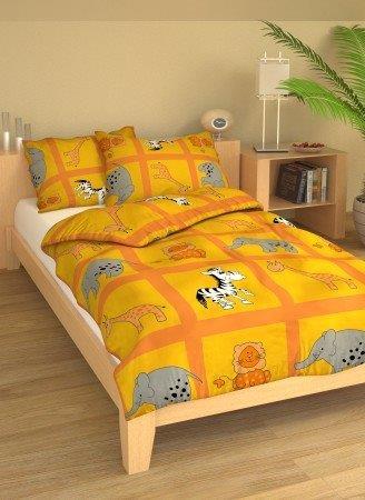 Brotex Písek Povlečení dětské bavlna velká postel Safari oranžové 140x200 cm, nitěný knoflík