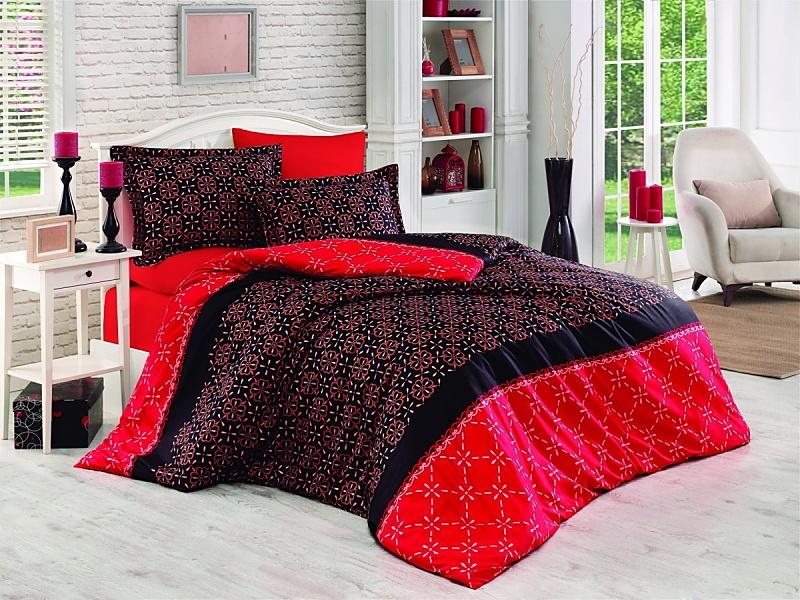 Brotex Písek Francozské povlečení Menfi červené bavlna-satén 200x200 + 70x90 cm