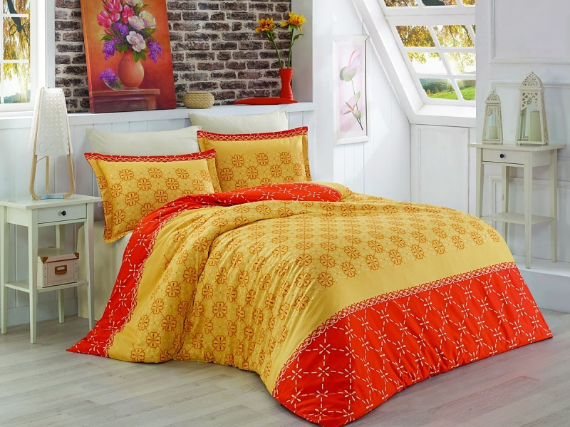 Brotex Písek Francozské povlečení Menfi oranžové bavlna-satén 220x200 + 70x90 cm