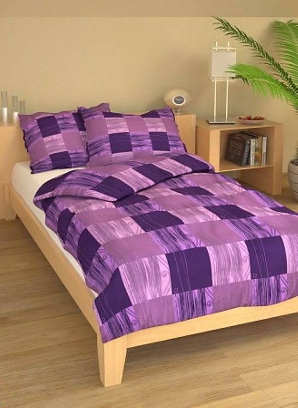 Brotex Písek Francouzské povlečení Čtverečky fialové bavlna-krep 240x220 + 70x90 cm