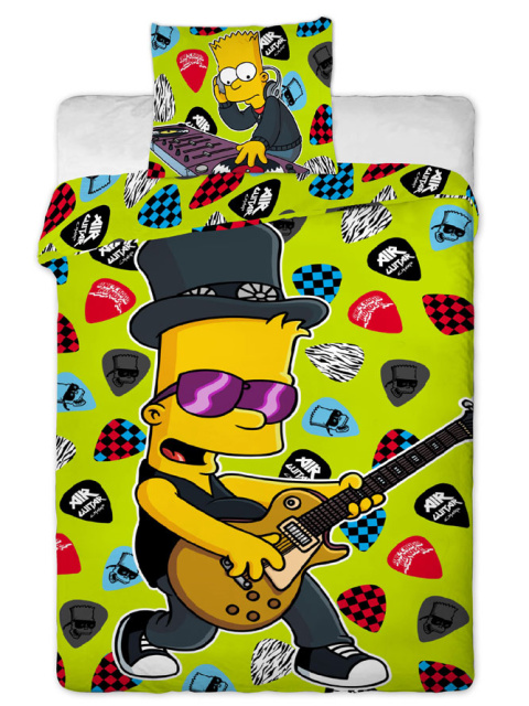 Jerry Fabrics Povlečení Bart Simpson music bavlna 140x200 + 70x90 cm